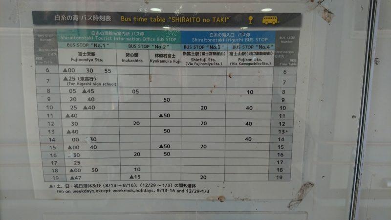 白糸の滝のバス時刻表