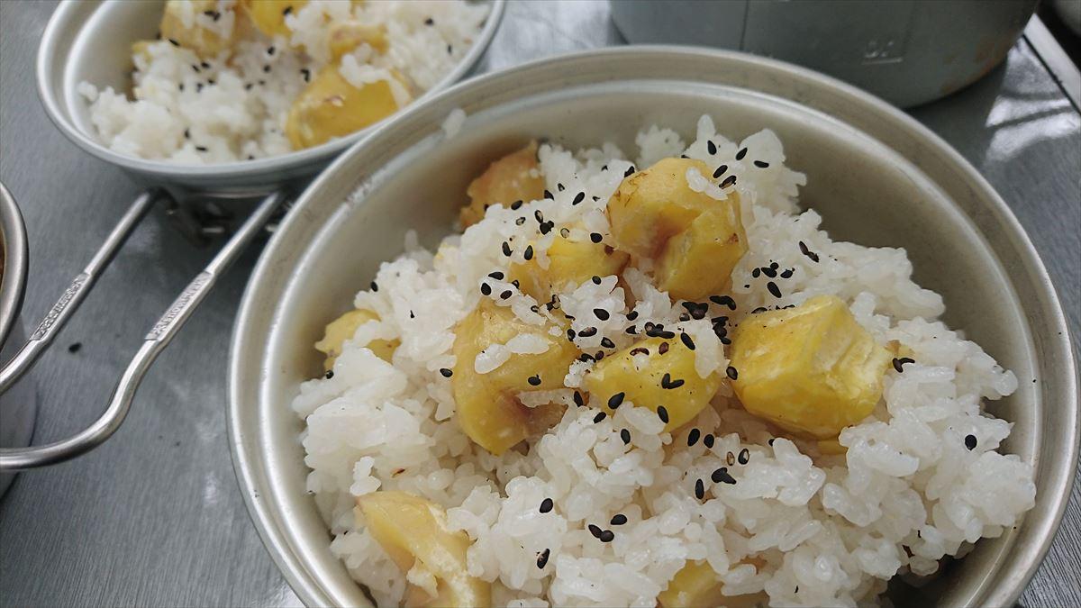 キャンプでクッカー(飯盒)を使って栗ご飯を作ってみた